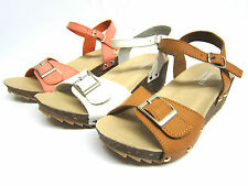 "Girls Savannah Open Toe Sandals with Buckle Detail & 2"" Wedge Heel Style H1046"