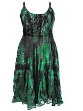 Dark Star Plus Size Black and Green Velvet Gothic Corset Long Gown XL 1X 2X