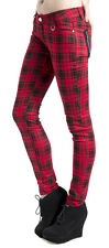 Jawbreaker Red Tartan Plaid Skinny Jeans Pants Skinnies Punk Rock