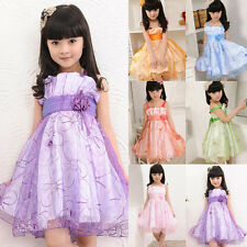Kids Girls Princess Dress Flower Formal Dress Tulle Wedding Party Braces Skirt