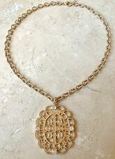 BENITO Large Worn Gold Chunky Filagree Meadlion Necklace San Benito Cross Medal