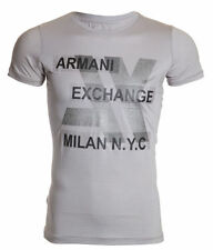 ARMANI EXCHANGE AX Mens T-Shirt MILAN NYC Slim Fit GREY Casual Designer M-XL $48