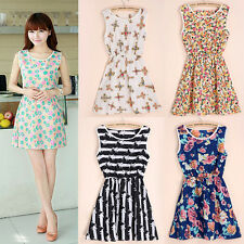 New Ladies Summer Dress Chiffon Dresses One-Piece Sundress Casaul Render Skirt