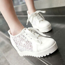 White Womens High Top Mesh Hidden Wedge Fashion Leather Sneakers Boot Shoes new