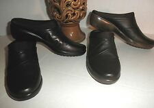 "NIB  Easy Spirit Womens ""Faber""  Leather Mule Clog Shoe Black Brown Comfortable"