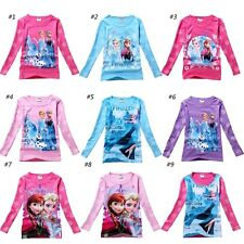 Girls Frozen Elsa&Anna Olaf Snowman Kids Top Blouse T-Shirts Clothes 2-7Y Shirts