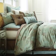 Brown Mint Green Floral 8 Piece Jacquard Comforter Set Queen King Bed Bedroom