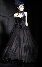 Punk Rave Gorgeous Baroness Dress Gown Formal Black Wedding Gothic Corset