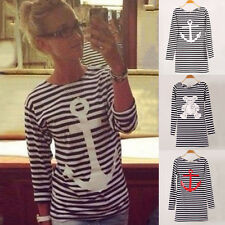 Lady Women Striped Round Neck Casual Long Sleeve Blouse Tops Tee T Shirt