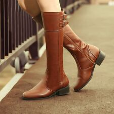 Trendy Ladies Womens Buckle Side Zipper Cuban Knee High Riding Boots Plus Size