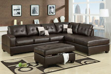 New Sofa Couches Sectionals W Reversible Chaise Bonded Leather Bobkona Set