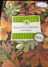 BOUNTIFUL HARVEST COLORFUL LEAVES & PINE CONES VINYL  TABLECLOTHS-ASSTD. SIZES-