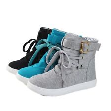 Womens Fashion Buckle Strap Hiking Flat Lace Up High Top Sports Sneakers Shoes