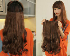 Hot sell Long Wave Onepiece 5Clips in Hair Piece Extensions 6colors bP19