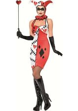 HORROR QUEEN OF HEARTS LADIES FANCY DRESS COSTUME JESTER HALLOWEEN OUTFIT S,M