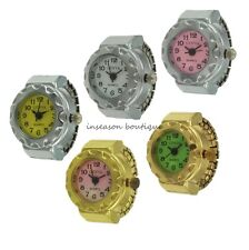 """Colored Wheel Face Stretch Band Adjustable Watch Ring """"Geneva"""""""