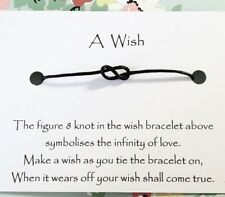 Infinity figure 8 knot ~ Wish Bracelet on card ~ Friendship ~ Gift ~ Favour