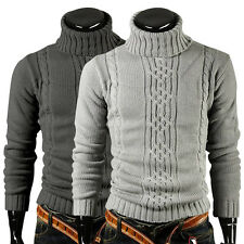 NEW Mens Stylish Slim Fit Turtle neck Knit Winter Warm Casual Tops Sweaters