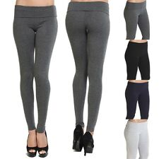 Themogan Stretch Workout Skinny Yoga Pants Foldover Waistband Cotton Leggings