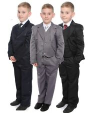 Boys Suit Grey or Black Formal 5 Piece Wedding Christening Age 1-15 Years New