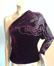 NWT $3998 Ralph Lauren Purple Label Luxury One Shoulder Glass Beaded Top Blouse