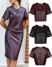 New Ladies Women Boxy Crop Top PU Faux Leather Celeb Party Formal Short Sleeves