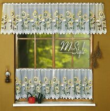 "Cafe Net Curtain Sunflowers White Price Per Metre 19"" and 27"" Drop"