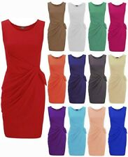 NEW WOMENS RUCHED SIDE BOW DRAPE FRONT SLEEVELESS SHIFT BODYCON DRESS SIZE 8-22
