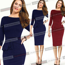 Womens Elegant Cotton Tunic Wear To Work Business Party Pencil Sheath Dress 726