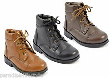 Children Kids Boots Lace-up Leather School Shoes Boys Girls Rubber Sole Size New