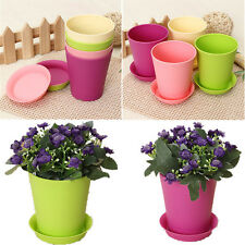 Candy Colors Flower Planter Plant Pot with Tray Home Office Decor Round Plastic
