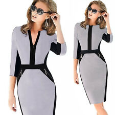 Womens Colorblock Stretch Bodycon Sheath Shift Work Party Cocktail Midi Dress