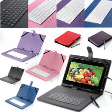 "Leather Stand For Universal 10"" 8"" 7"" Tablet Case Cover with USB Keyboard Stylus"