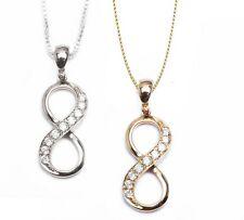 """INFINITY SOLID 14KT GOLD & DIAMOND PENDANT NECKLACE 18"""" BOX CHAIN"""