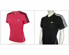 NWT ADIDAS Womens Pink Black Climacool Athletic Running T Shirt Top XS S M L XL