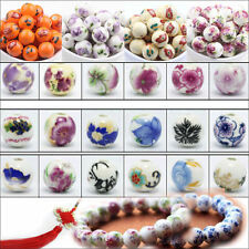 New 20Pcs Flower Pattern Round Ceramic Porcelain Loose Spacer Beads Charms 12mm