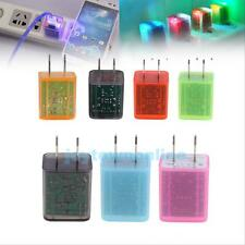 LED Flashing Light Dual USB Port AC Wall Charger Adapter for Samsung/iPhone #JT1