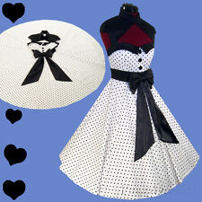 New POLKA DOT Rockabilly 50s FULL SKIRT White Dress S M L XL XXL Pinup PARTY Bow