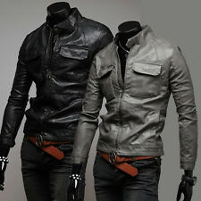 Vogue Men's Top Designed Rider Fitted Coat Sexy PU Leather Biker Jacket XS/S/M/L