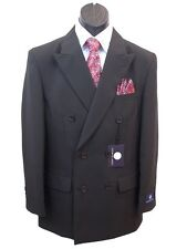 Men's Dress Suit Double Breasted 6 Buttons Black All Sizes + Free Suit Bag