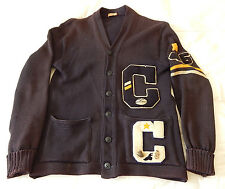 VTG Antique University Of Colorado Letterman Wool Sweater Football Track Old
