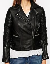 Womens Biker Cozy Quilted Custom Made Real Lamb Leather Jacket For Ladies WJ-20