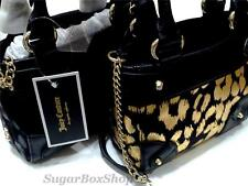 NWT JUICY COUTURE LEOPARD PRINT MINI MINI DAYDREAMER BAG PURSE BLACK/GOLD -BLACK