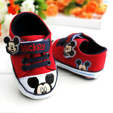 Baby Boy Girl Red Mickey Mouse Crib Shoes Sneakers Size 3-12 months