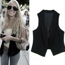 Hot New Fashion Womens Slim Fit Casual Waistcoat Suit Vest Black