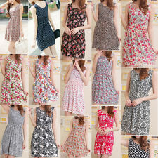 Womens Summer Sexy Casual Floral Ladies skirt Bohemian Party mini Cloth Dress