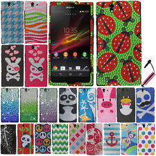 FOR SONY XPERIA Z L36H C6603 C6606 Waterfall HARD Bling Case Protector Cover+Pen