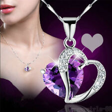 Gemstone Heart Amethyst Swarovski Pendant Necklace Crystal White Gold Silver