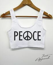 Peace American Apparel Tank Crop Top Summer Vibes Holiday Girls Women Indie