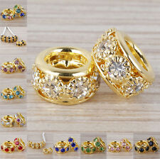 Hot 5pcs Gold Plated Crystal Big Hole Spacer European Beads Fit Charm Bracelet